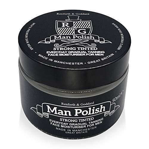 Man Polish Strong Tinted - Crema idratante per il viso autoabbronzante graduale, da uomo, di alta qualità, 50 mL