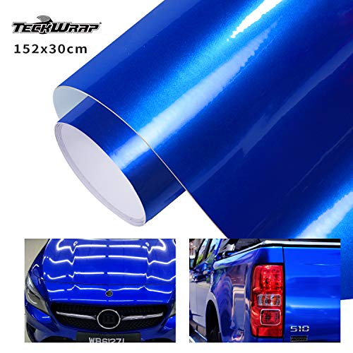 "TECKWRAP Glossy Blue Adhesive Vinyl Car Wrap Film Roll with Air Release 11.5""x 60"""