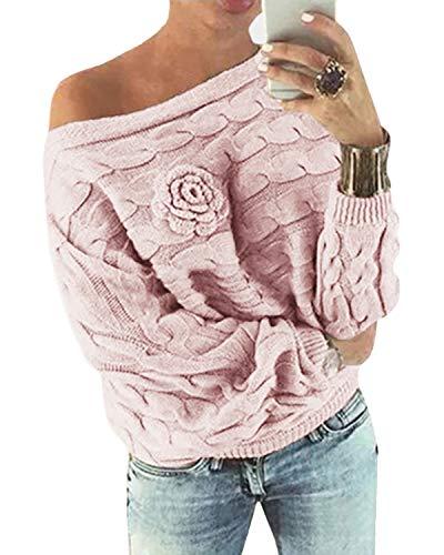 YOINS Donna Maglione Floreale Felpa Spalle Scoperte Pullover Manica Lunga Maglioni Maniche a Pipistrello Tops Casuale Rosa-Nuovo S