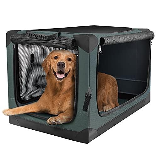 PUPPY KITTY Hundetransportbox Hundetasche Faltbare Transportbox Tragbare Autobox Haustiertragetasche Kleintiertasche für Auto, Drinnen und Draußen, Oxford Gewebe Armeegrün (L)