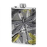 Miedhki Gourde en acier inoxydable pour alcool Motif libellules colorées 226,8 g