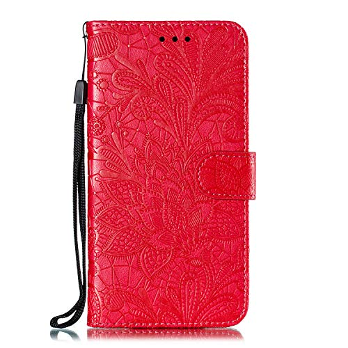 Hülle für Motorola One Zoom Lederhülle Flip Tasche Klappbar Handyhülle mit [Kartenfächer] [Ständer Funktion], Cover Schutzhülle für Motorola Moto One Zoom - JEEB021164 Rot