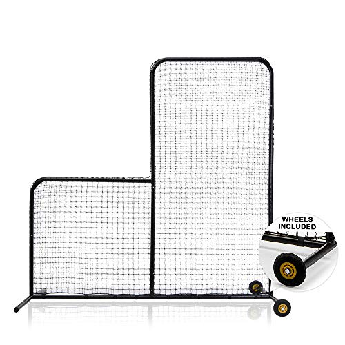 ACELETIQS L Screen Baseball Softball Pitching Net with Wheels-7 feet by 7 feet, 3.5 Inch by 3.5 Inch Cutout-Portable, Body Protector, Batting Cage Safety Screen for Back Drive Lines-Steel Frame