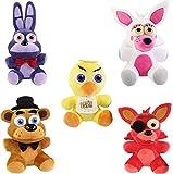 FNAF Plushies Anime Toys Set 5pcs, Gifts for Five Nights Anime Fans, Foxy, Bonnie, Freddy Fazbear, and Chica Toys Dolls, FNAF Toys, Plush Set Dolls for Kids