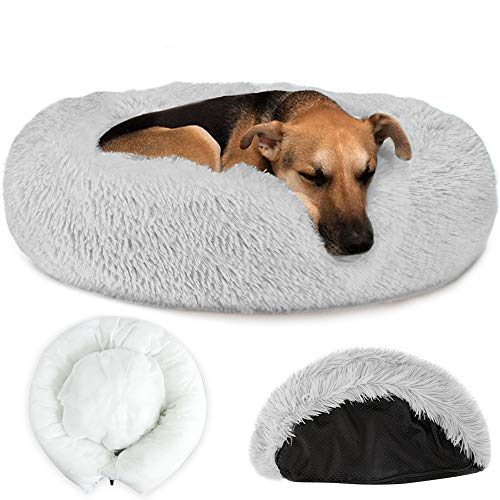 Nasjac Pet Calming Bed, Warm Donut Dog Bed with Removable Cover Soft Plush Dog Cat Cushion with Cozy Sponge Non-Slip Bottom for Small Medium Pets Sleeping Autumn Winter Indoor(80 CM Light Grey)