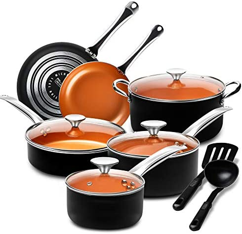 MICHELANGELO Pots and Pans Set 12 Pieces Nonstick Copper Cookware Set with Ceramic Interior product image