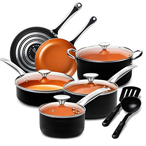 MICHELANGELO Pots and Pans Set 12 Pieces, Nonstick Copper Cookware Set with Ceramic Interior,...