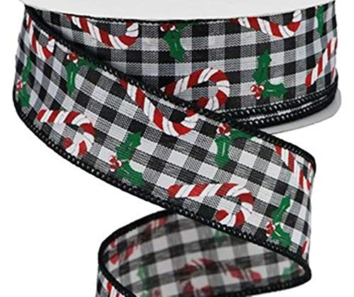 Happy Deals~ Candy Canes and Holly On Gingham Plaid Ribbon   Wired 1.5 inch X 10 yd