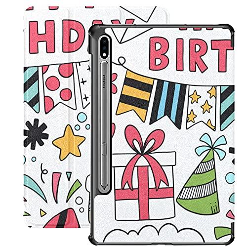 Funda para Galaxy Tab S7 Funda Delgada y Liviana con Soporte Funda para Samsung Funda para Galaxy Tab S7 Tablet 11 Pulgadas Sm-t870 Sm-t875 Sm-t878 2020 Release, 07 09 030 Hand Drawn Party Doodle HAP