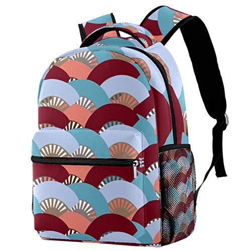 Rucksack mit buntem spanischem Fan-Motiv, Schulranzen, Reiserucksack für Frauen, Teenager, Mädchen, Jungen
