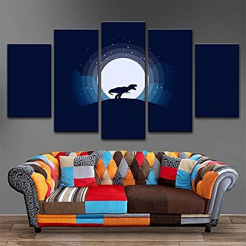 HGFDS Cuadros Modernos Impresión de Imagen Artística Digitalizada Tyrannosaurus Animal Y Noche De Luna Lienzo Decorativo para Salón o Dormitorio   5 Piezas 150x80cm XXL (Enmarcado)