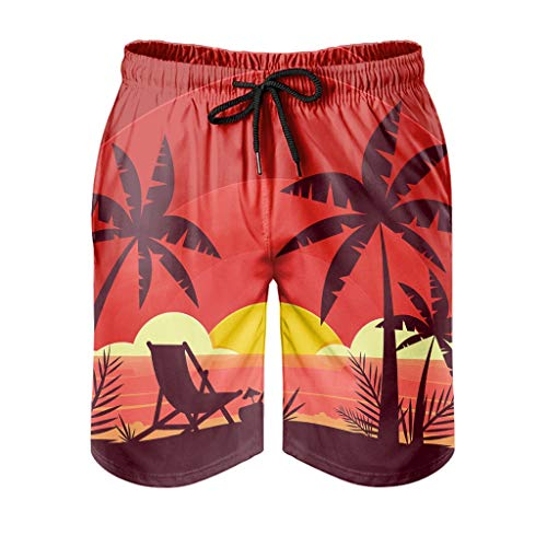 Ktewqmp Zomer zwembroek kokosnootboom mannen zwembroek zwemshorts heren met zakken lopen