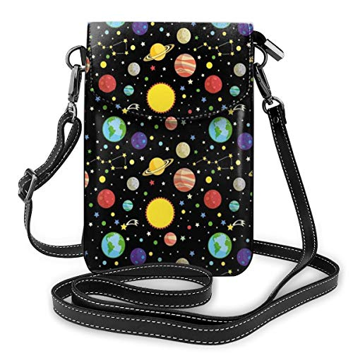 Women Small Cell Phone Purse Crossbody,Comets And Constellations Stars With Polka Dots Earth Sun Saturn Mars Solar System