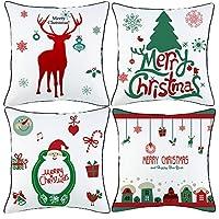 """Natale Serie Cotone Biancheria Dimensioni: Ogni copricuscino misura 18 """"× 18"""", che è ottimo per la decorazione del cuscino. Solo fodere per cuscino, INTERNO NON INCLUSO. Queste copertine sono regali perfetti per Natale, che sono anche grandi decorazi..."""
