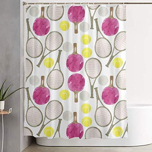 226 MILAIDI DuschvorhangDuschvorhängeTennis Balls and Tennis Rackets Pattern Shower Curtain with Hooks 60 X 72 Inches for Decorative Bathroom Curtains Decoration Creative Home Ideas