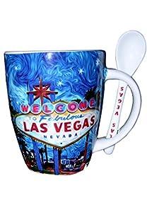 Welcome To Fabulous Las Vegas Sign Starry Night Design Coffee Mug W/stir Spoon by