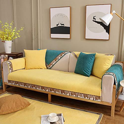B/H 3 Plaza Funda de Sofá Elástico Cubierta,Funda de sofá Antideslizante de Color sólido, Funda de sofá Simple-Amarillo limón_90 * 90cm,Funda sofá Duplex