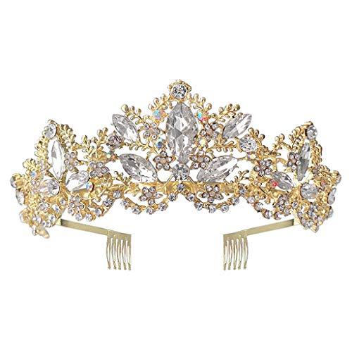 niumanery Golden Baroque Royal Queen Gold Wedding Crown Crystal Princess Tiara Headbands