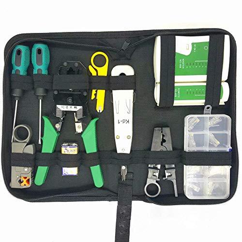 Wskjeiqpl Netwerk Kabel Reparatie Gereedschap kits RJ45 Kabel Crimper 8P8C RJ45 Connector Kabel Tester Schroevendraaier Draadstripper set