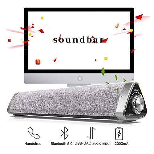 Bluetooth 5.0 TV soundbar soundbar met geïntegreerde batterijen & dual verbinding, Wired & Wireless Home Theater soundbar luidspreker met RCA/AUX/USB-kabel/afstandsbediening/subwoofer