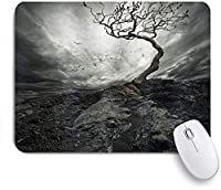 ECOMAOMI 可愛いマウスパッド ホラーハウス黒と白の劇的な霧の空のカモメの空気孤独な木に魅了された風の強い日プリント 滑り止めゴムバッキングマウスパッドノートブックコンピュータマウスマット