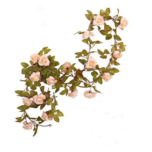 Packung mit 3 Girlanden aus künstlichen Rosenranken mit grünen Blättern, 160 cm, zum Dekorieren zu Hause und bei einer Hochzeit. 17rose-apricot