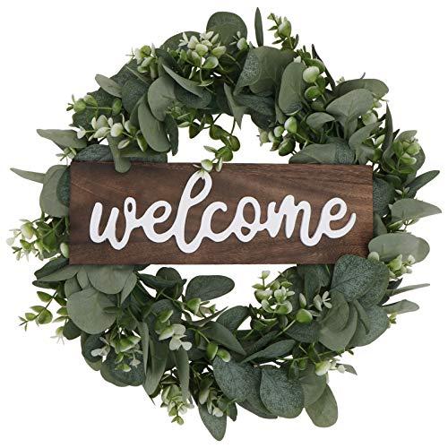 SOIMISS Corona artificial de eucalipto con hojas y ramas, 42 cm, cartel de bienvenida, para puerta, bienvenida, para salón, decoración de pared, boda, primavera, decoración (verde grande)