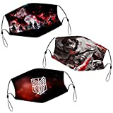 Eren Attack On Titan Face Mask 3PCS Washable Scarf Dustproof Bandana Balaclava for Mens Womens With 6 Filter