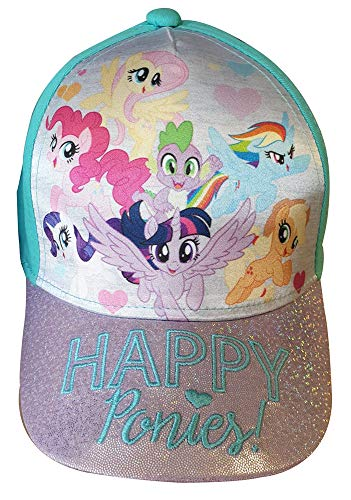 My Little Pony Kinder Glitzer-Kappe Happy Ponies! Applejack, Rainbow Dash, Pinkie Pie, Spike The Dragon, Rarity Baseballcap, Cappy, Schirmmütze für Mädchen (54, Türkis)