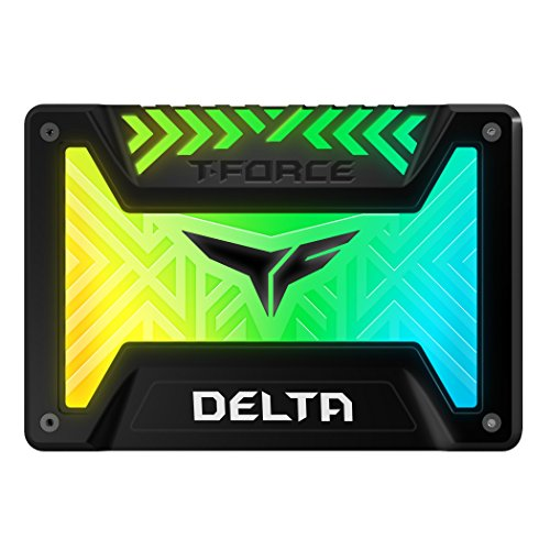 TEAMGROUP T-Force Delta RGB 1TB with DRAM 3D NAND TLC 2.5 Inch SATA III Internal Solid State Drive 5V RGB Header (Read/Write Speed up to 560/510 MB/s) for PC Desktop Black T253TR001T3C313