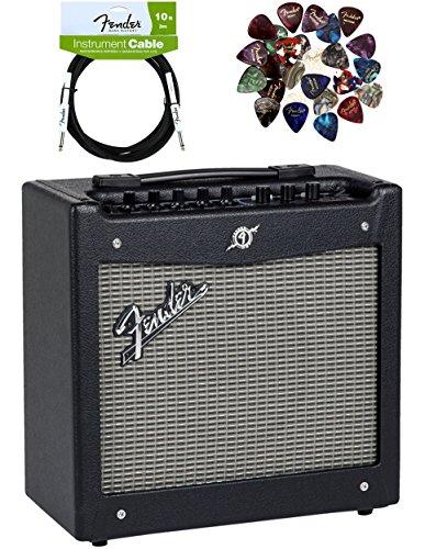Fender Mustang Guitar Amplifier Bundle with Instrument Cable, Pick Sampler, and Austin Bazaar Polishing Cloth, Bundle w/ Instrument Cable, Mustang