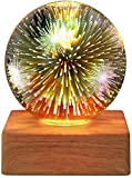 HBWH Proyector de cielo estrellado, bola de cristal, lámpara de decoración de fuegos artificiales para dormitorio, mesita de noche, luz de noche LED regalo (cielo estrellado)