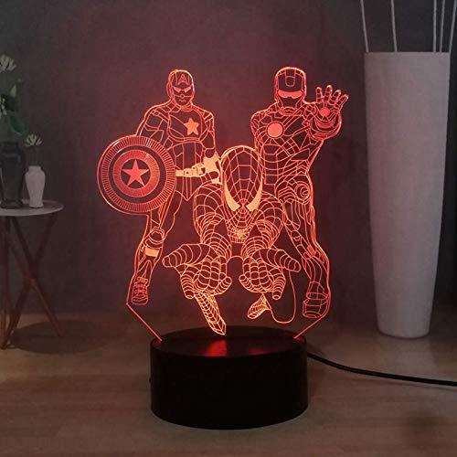 Captain America lampe led, lampe de bureau Iron Man 3d avec 16 couleurs, décoration de lampe de chevet de chambre à coucher Spiderman USB Touch, figurines manga Lampe de table