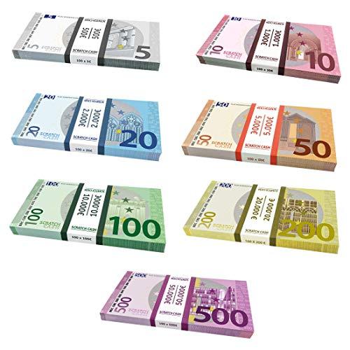 Caja para Scratch Cash Mega Bundle 700 billetes – 7 palos – 100 x Euros 5, 10, 20, 50, 100, 200 y 500 billetes falsos Scratch Cash. Los billetes tienen la medida original del euro