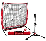 PowerNet 5x5 Practice Net + Deluxe Tee + Strike Zone + Weighted Training Ball Bundle (Red)   Baseball Softball Pitching...