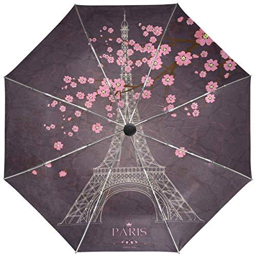 Trushop Automatischer Regenschirm Vintage Paris Eiffel Tower Umbrella Automatic Open Close Cherry Blossom Windproof Compact Anti-UV Travel Umbrella Lightweight Parasol Umbrellas Sun & Rain