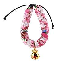 【𝐂𝐡𝐫𝐢𝐬𝐭𝐦𝐚𝐬 𝐆𝐢𝐟𝐭】 スタイリッシュな三次元プリントカラー和風カラー、布ソフト生地快適な猫の首輪、犬の首輪用ペット猫小型犬(Pink M)
