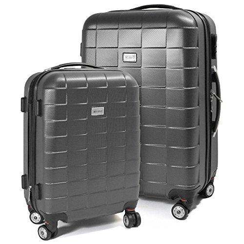 BERWIN® Kofferset M + L 2-teilig Reisekoffer Trolley Hartschalenkoffer ABS Teleskopgriff Modell Squares (Dunkelgrau)