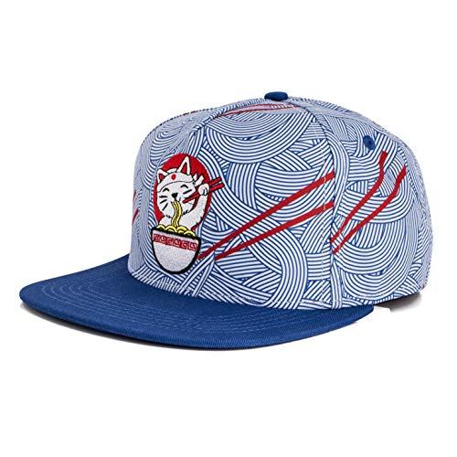 Blackskies Ramen Snapback Cap | Damen Herren Baseball Mütze Kappe Basecap Blau Nudeln Katze Japan