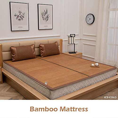 Cooling topper mattress Bamboo Mat Pure Natural Bamboo Manufacturing, Natural Comfort Summer Mattress Full Size Twin King Queen Foldable (Color : Brown, Size : 140x200cm)