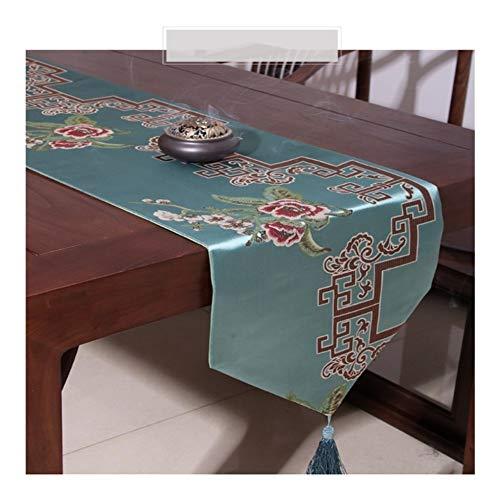 YIJTE Boda Clásica China Decoración del Hogar De La Tela del Partido De Poliéster Bandera De Mesa Adecuado para hogar Moderno. (Color : Green, Size : 33x210cm)