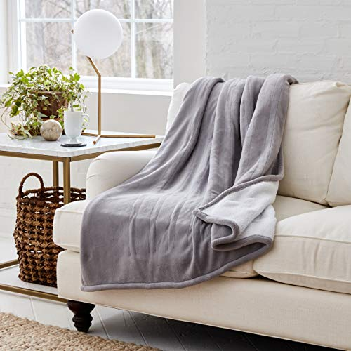 Eddie Bauer | Wi-Fi Collection | Reversible Sherpa/Fleece Heated Electric Smart Throw Blanket, Alexa-Enabled, Gray