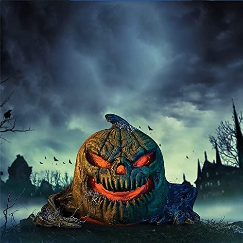 DERMASENS Accesorio de Ataque de Calabaza con luz Solar de Halloween, decoración de casa embrujada de Calabaza Malvada con luz simulada, decoración de Adornos de Noche de Halloween