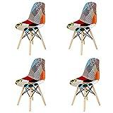 N / A Pack de 4 sillas Sillas de Retazos Multicolores en Tela de Lino Sillas de Sala de Estar de Ocio Sillas de Comedor con Respaldo de cojín Suave (Rojo-01)
