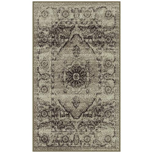 Maples Rugs Distressed Lexington Kitchen Rugs Non Skid Accent Area Floor Mat [Made in USA], 1'8 x 2'10, Neutral