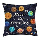 ABAKUHAUS Frase Funda para Almohadar, Espacio Exterior Planetas Nebulosa Sistema Solar Luna Cometas Sol Cosmos Illustración, Funda para Almohada Estampado en Ambos Lados, 45 x 45 cm, Multicolor