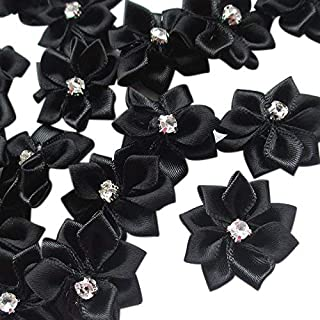 "Chenkou Craft Black 40pcs 28mm(1 1/8"") Ribbon Flowers Bows Rhinestone Wedding Ornament Appliques"
