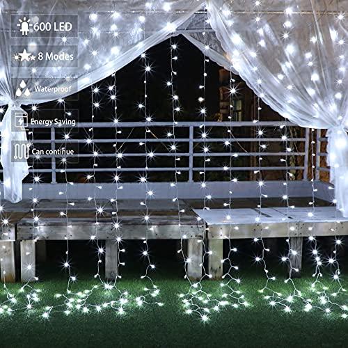 Rideau lumineux extérieur de Noël, Guirlande Lumineuse Noël 3x3 m 300Led Lumières cascade avec 8 modes d'éclairage Décorations de Noël, Fête, Jardin, Dîner, Terrasse, Pelouse Blanc