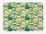ABAKUHAUS Exótico Tapete para Baño, Ilustración Salvaje Lima limón, Decorativo de Felpa Estampada con Dorso Antideslizante, 45 cm x 75 cm, Verde Blanco y Verde Amarillo