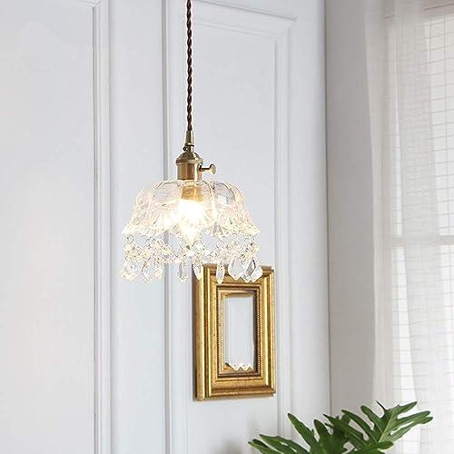 Wsw Lumineux Lustre en Verre en Laiton Vintage Simple Moderne Chevet Balcon Lampe en Cristal Couloir Porche Lumière Haut de Gamme